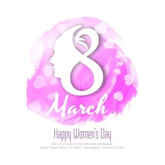 Abstracte happy women's day roze aquarel achtergrond