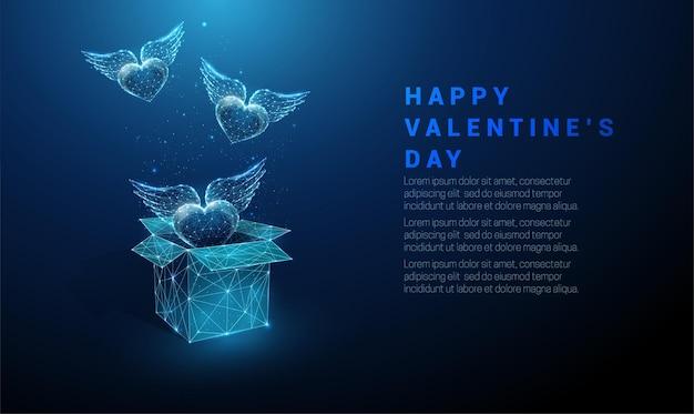 Abstracte harten die van open giftdoos vliegen. happy valentijnsdag kaart. laag poly-stijl ontwerp. geometrische achtergrond. wireframe lichte verbindingsstructuur. modern grafisch concept. vector illustratie