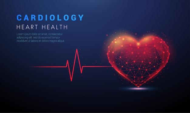 Abstracte hartvorm met rode cardiopulslijn.