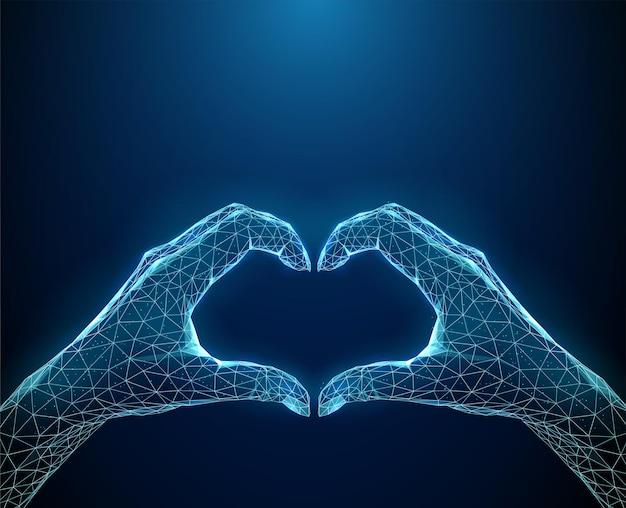 Abstracte hartvorm van blauwe handen.