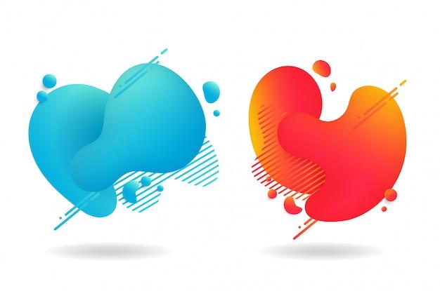 Abstracte hartvormige vloeistof. de vorm van vloeistof in warme en koude tinten die er modern uitzien.