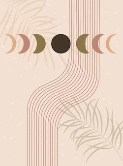Abstracte hedendaagse esthetische achtergrond maanfasen en lijnen aardetinten terracotta kleuren