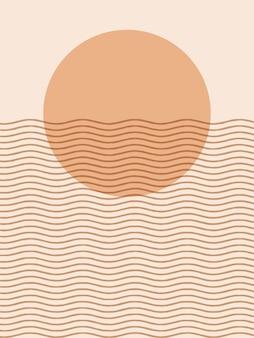 Abstracte hedendaagse esthetische achtergronden landschappen met zonsopgang, zonsondergang. aardetinten, pastelkleuren. boho wanddecoratie. halverwege de eeuw moderne minimalistische kunstdruk.