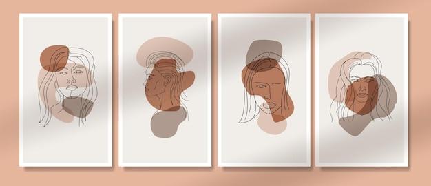 Abstracte hedendaagse midden van de eeuw moderne gezicht lijn kunst portretten boho poster sjabloon collectie