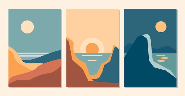 Abstracte hedendaagse set van esthetische achtergronden landschappen met zonsopgang, zonsondergang, nacht. aardetinten, terra cotta kleuren. platte vectorillustratie. sjablonen voor hedendaagse kunst, boho wanddecoratie
