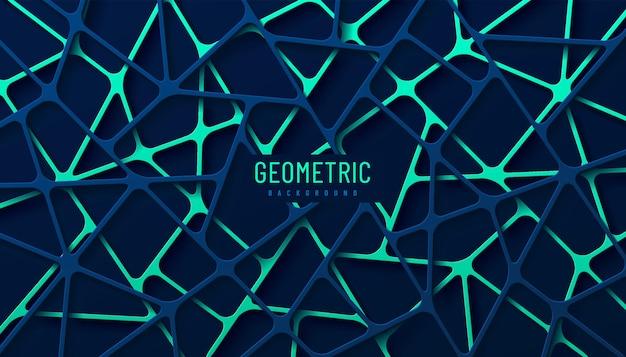 Abstracte heldergroene en donkerblauwe geometrische lijn overlappende lagen op donkere achtergrond