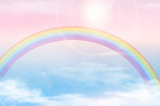 Abstracte hemel met kleurenwolken. zon en wolken achtergrond met een zachte pastelkleur. achtergrond van het fantasie de magische landschap met kleurrijke bewolkte zonnige hemel, realistische heldere regenboog, pluizige wolk. vector
