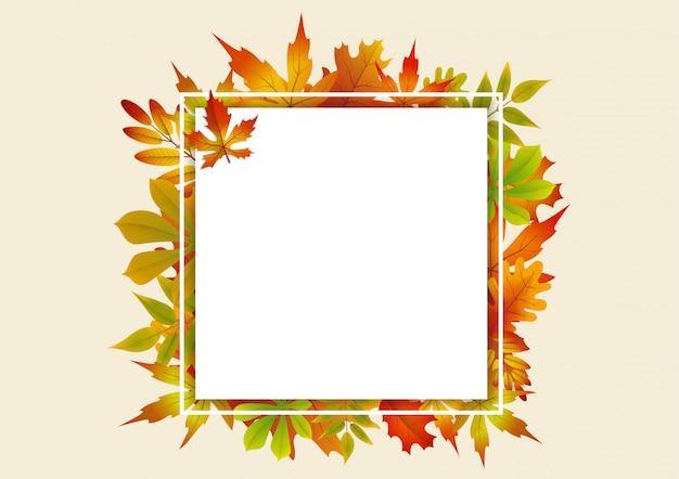 Abstracte herfst frame achtergrond met vallende herfstbladeren.