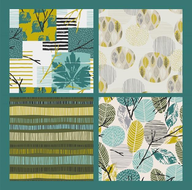 Abstracte herfst naadloze patronen met bladeren. vector achtergrond voor verschillende oppervlakte.