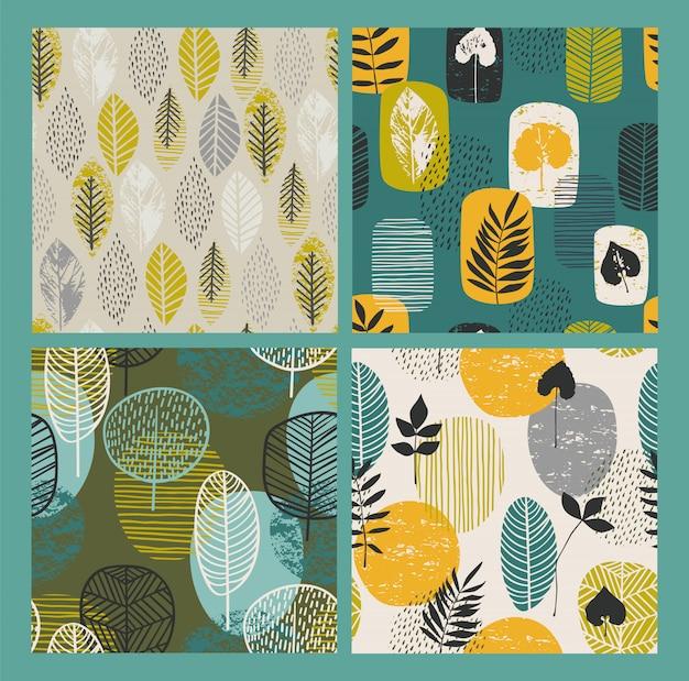 Abstracte herfst naadloze patronen met bladeren.