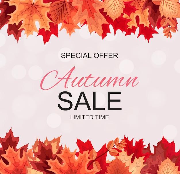Abstracte herfst verkoop achtergrond met vallende herfstbladeren