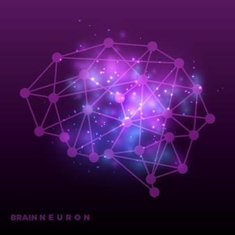 Abstracte hersenen neurale netwerk en universum achtergrond