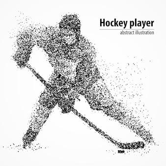 Abstracte hockeyspeler met de puck uit de zwarte cirkels. illustratie.