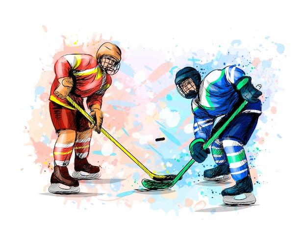 Abstracte hockeyspeler uit splash van aquarellen. hand getrokken schets. wintersport. illustratie van verven