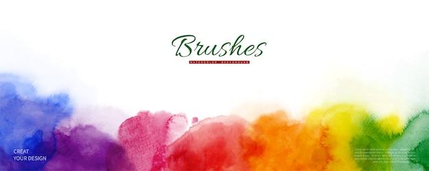 Abstracte horizontale achtergrond ontworpen met aquarel vlekken van de regenboogkleur.