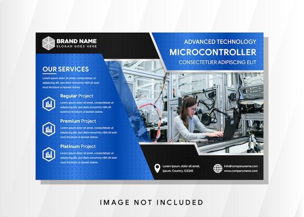 Abstracte horizontale banner, lichtblauwe en zwarte achtergrond. microcontroller flyer cirkelpatroon.