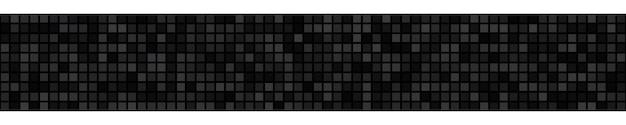 Abstracte horizontale banner of achtergrond van kleine vierkantjes of pixels in zwarte kleuren.