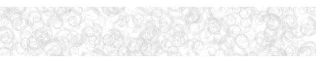 Abstracte horizontale banner of achtergrond van willekeurig verdeelde doorschijnende spiralen met contouren in witte kleuren.