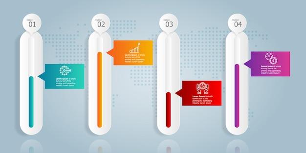 Abstracte horizontale groei grafiek infographics 4 stappen met pictogrammalplaatje voor zaken en presentatie vector illustratie achtergrond