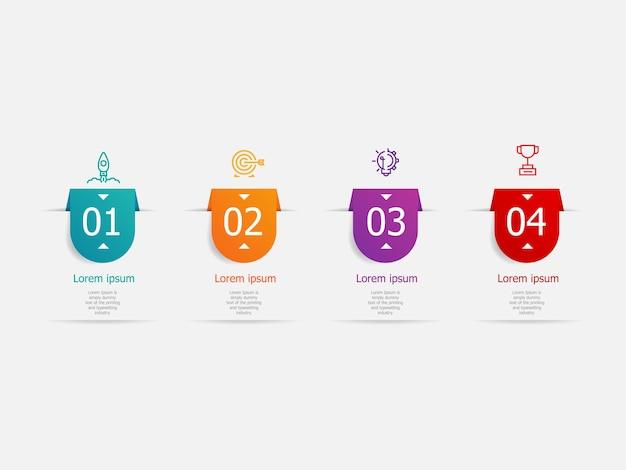 Abstracte horizontale infographics 4 stappen voor zaken en presentatieillustratie