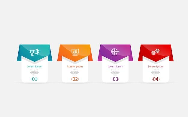Abstracte horizontale infographicsstappen voor zaken en presentatie