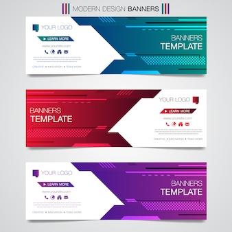 Abstracte horizontale zakelijke banner geometrische vormen ontwerpset websjabloon