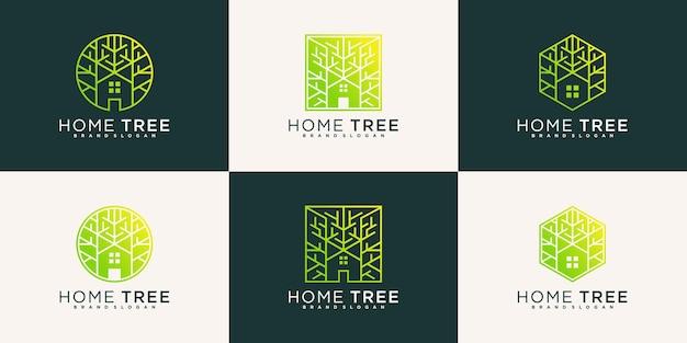 Abstracte huis boom logo ontwerpsjabloon met moderne lijn kunststijl premium vector