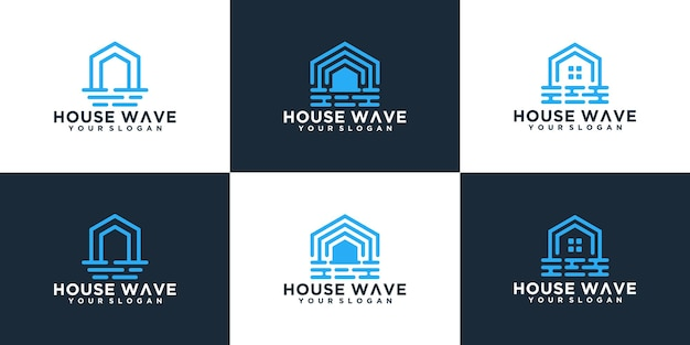 Abstracte huis en golven logo collectie