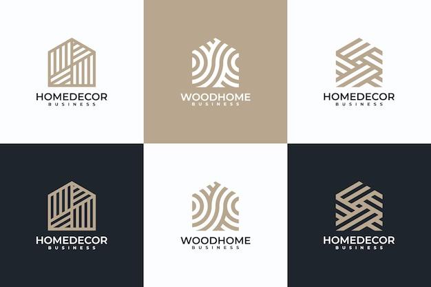 Abstracte huislogo-collectie, woondecoratie, houten huis