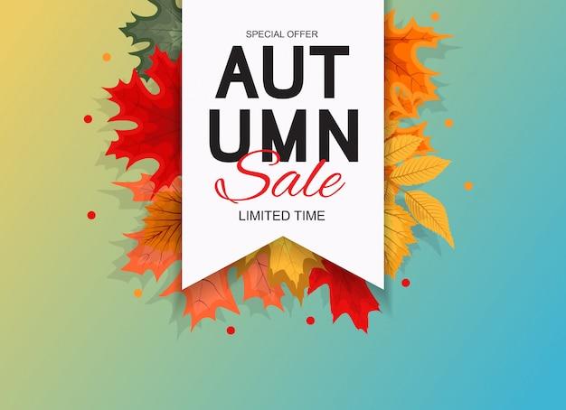 Abstracte illustratie herfst verkoop achtergrond met vallende herfstbladeren.