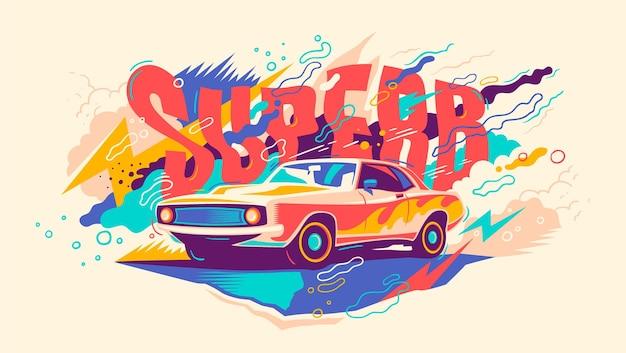Abstracte illustratie met retro auto.