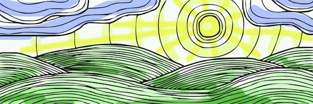 Abstracte illustratie van de natuur, heuvels, wolken en zon, vectorbanner