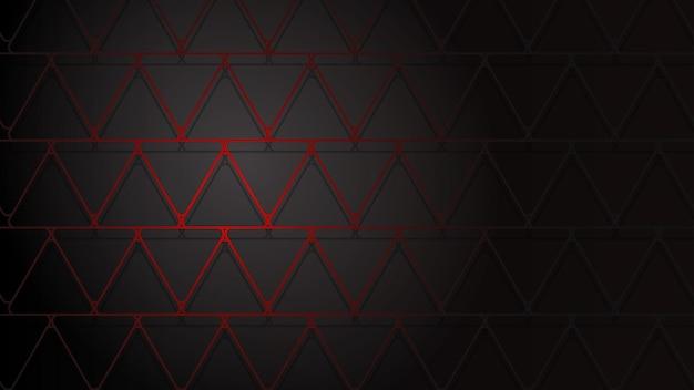 Abstracte illustratie van donkerrode kruisende driehoeken met schaduwen op zwarte achtergrond