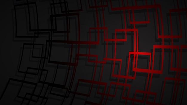 Abstracte illustratie van donkerrode kruisende vierkanten met schaduwen op zwarte achtergrond