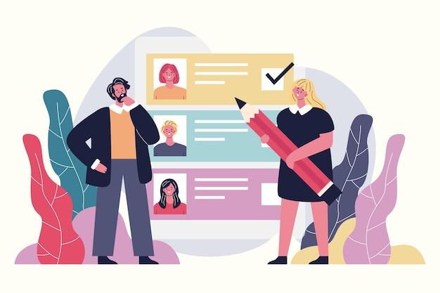 Abstracte illustratie van keuze van werknemersconcept
