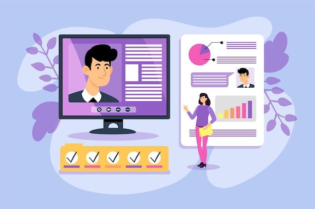 Abstracte illustratie van online sollicitatiegesprek
