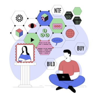 Abstracte illustratie van persoon die crypto doet