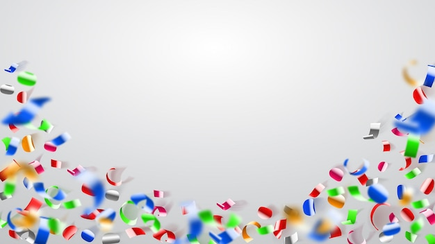 Abstracte illustratie van vliegende glanzende gekleurde confetti en stukjes serpentine op witte achtergrond