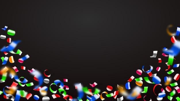Abstracte illustratie van vliegende glanzende gekleurde confetti en stukjes serpentine op zwarte achtergrond