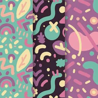 Abstracte in hand getrokken patrooninzameling