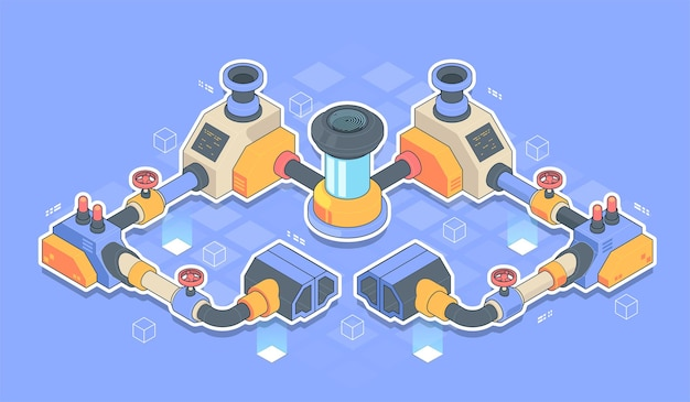 Abstracte industriële productie productielijn apparatuur isometrisch