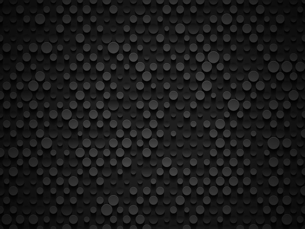 Abstracte industriële realistische reliëf volume cilinder textuur, depressieve cirkels zwarte achtergrond, 3d geometrische patroon. ronde stip cyber achtergrond. digitaal futuristisch techno vectorbehang.