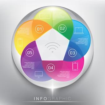 Abstracte info grafische cirkel. 5-delig concept. geïsoleerd op het witte paneel.