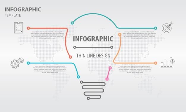 Abstracte infographic 4 opties, lampstijl