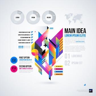 Abstracte infographic met gedegradeerde texturen en 3d-weergave