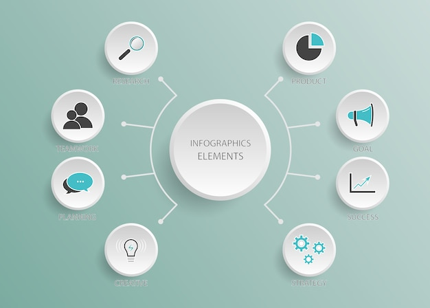 Abstracte infographic sjabloon met vijf stappen voor succes. lege ruimte voor inhoud, zaken, infographic, diagram, stroomdiagram, diagram, tijdlijn of stappenproces Premium Vector