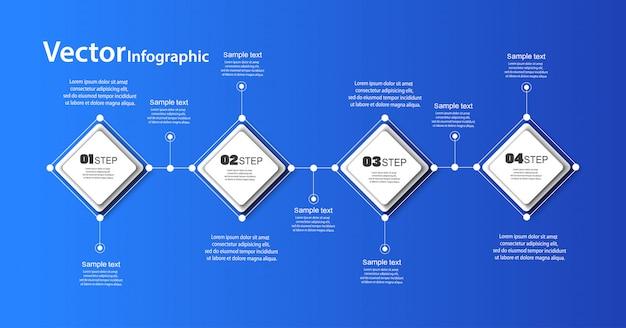 Abstracte infographic sjabloon op blauwe achtergrond met 4 stappen