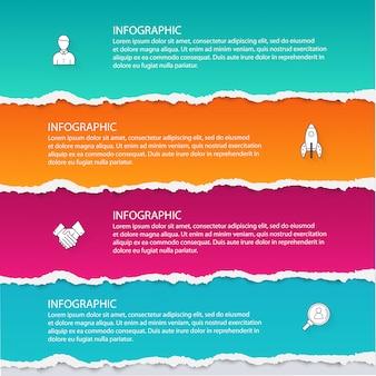 Abstracte infographics sjabloon gescheurd papier stijl.
