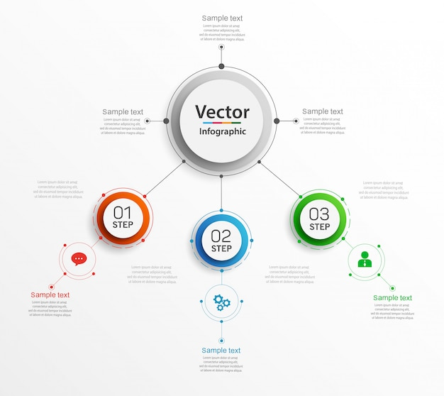 Abstracte infographics sjabloon met kleurrijke cirkels en 3 stappen