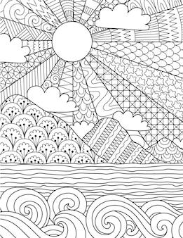 Abstracte ingewikkelde lijntekeningen van zonsopgang op het strand voor achtergrond, kleurboek, kleurplaat met de maat 8.5x11. vector illustratie.